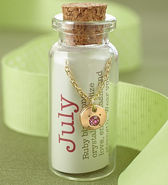July Birthstone Bottle Necklace
