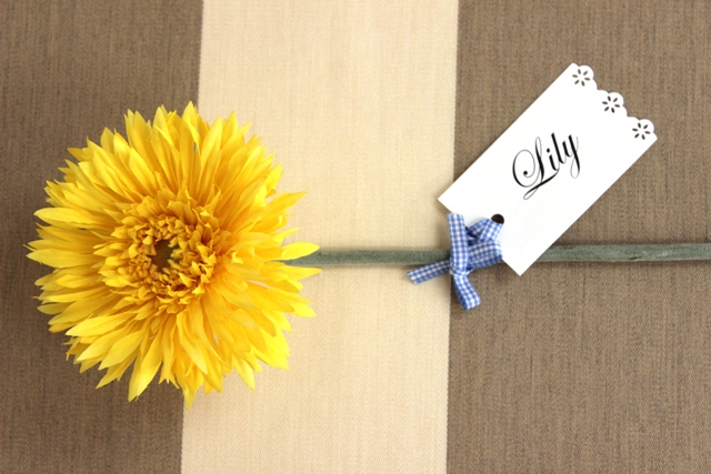 Place Card Tied to Silk Flower