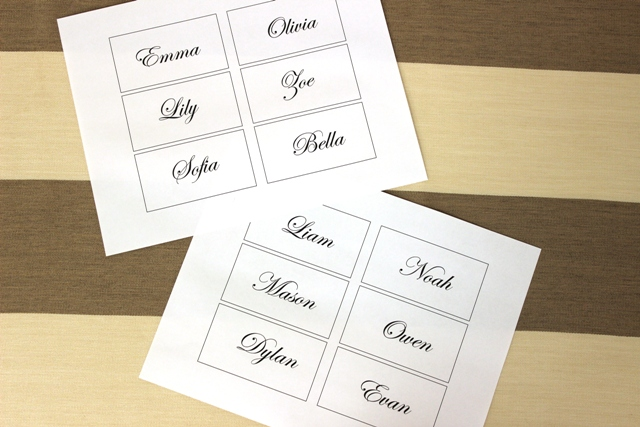 Printed Place Card Template