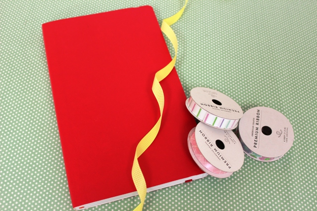 Ribbon Used to Decorate Back to School Notebook