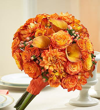 Orange Mixed Bridal Bouquet