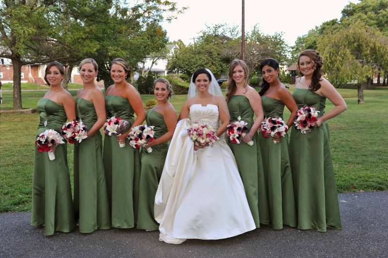 Kerri's Bridal Party Wearing Green Fall Bridesmaids Dresses