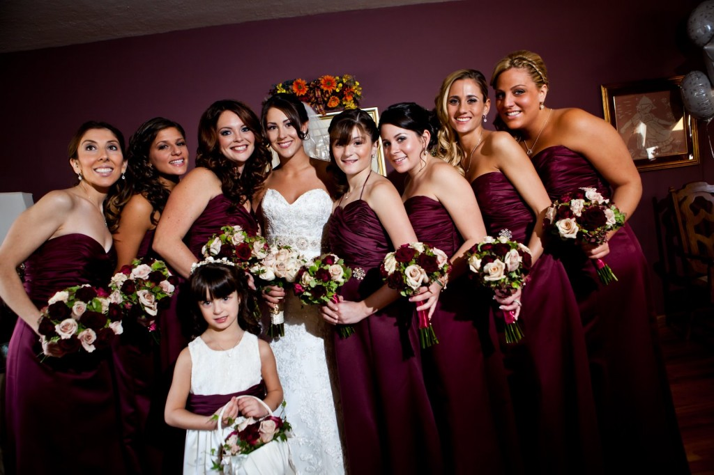 The Wedding Color Scheme Mariannas Bridal Party Wearing Merlot Fall Bridesmaid Dresses