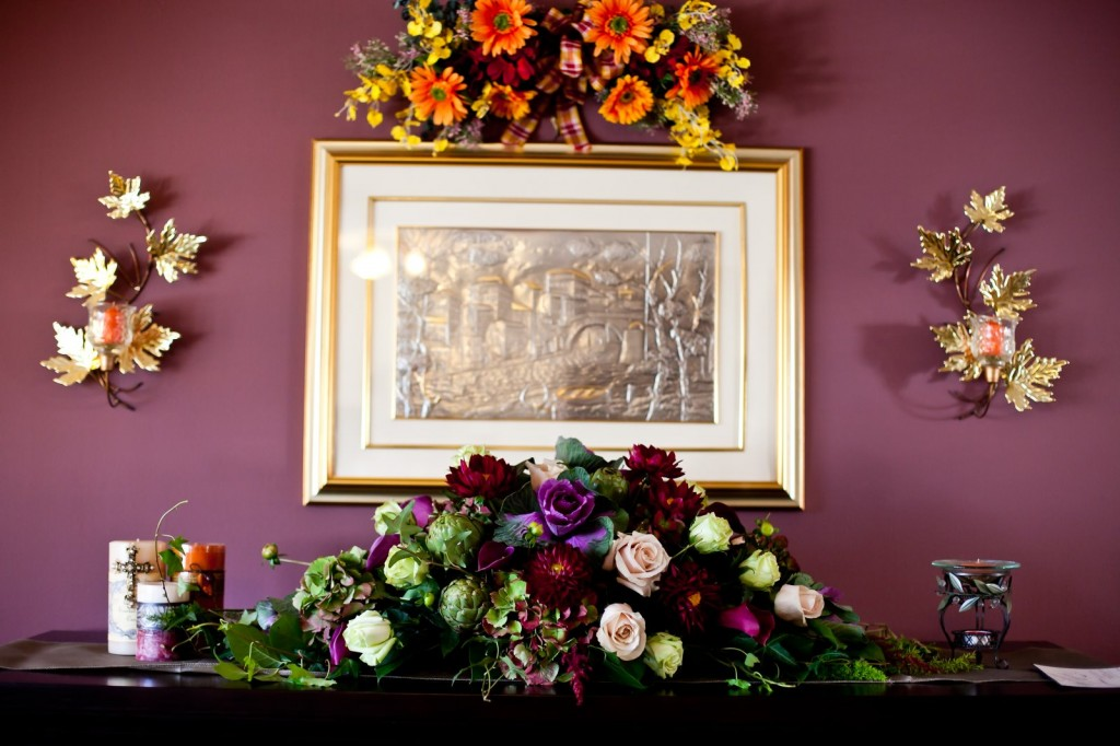 Marianna's Vineyard-Themed Fall Wedding Centerpieces With Fresh Green Produce