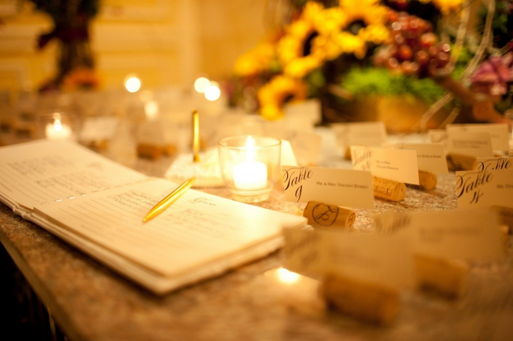 Marianna's Vineyard-Themed Fall Wedding Guest Table With Guest Cards Displayed on Wine Corks