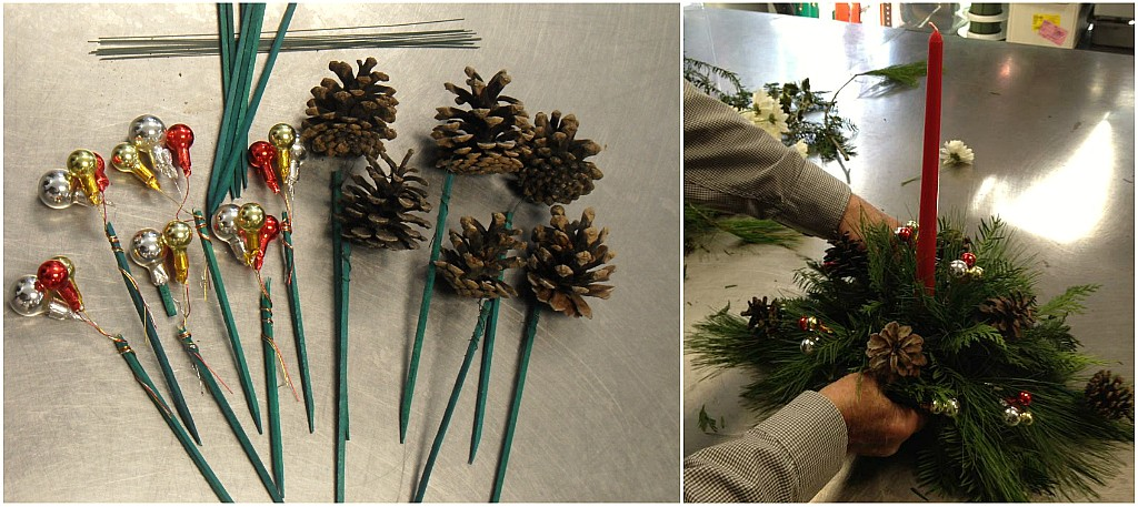 DIY-christmas-centerpiece-placing-pines-and-millimeter-balls