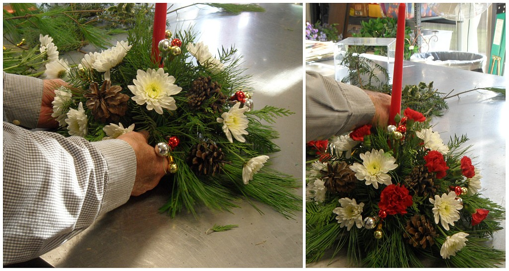 Diy-christmas-centerpiece-placing-flowers
