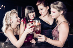 Toast with your bridesmaids at your bridesmaid party!