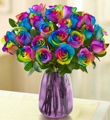 Kaleidoscope Rose Arrangement with Purple Vase