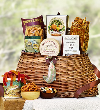 Fishing Creel with Fisherman's Favorites Gift Basket