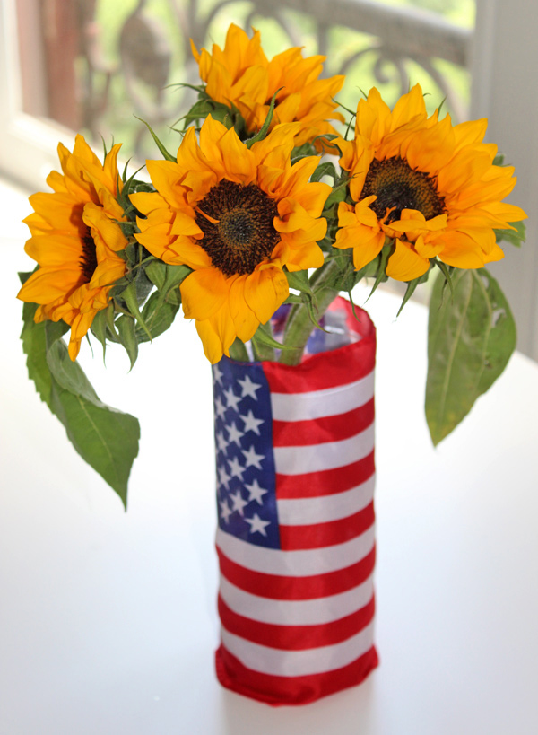 diy patriotic decor red white blue vase with sunflowers
