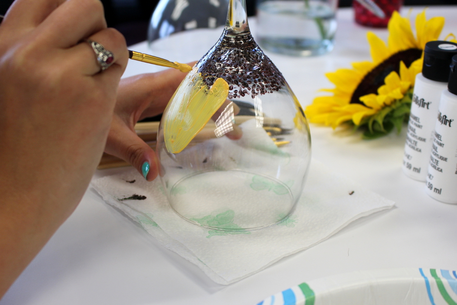 Diy hand painted wine glasses with flowers petal talk for Painting while drinking wine