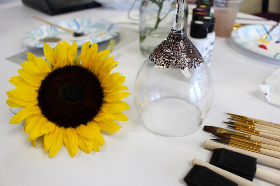 Sunflower Inspiration Wine Glass Painting