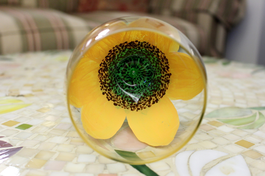 Sunflower Wine Glass Inside View