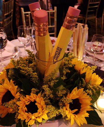 Education Sunflower Pencil Floral Centerpiece