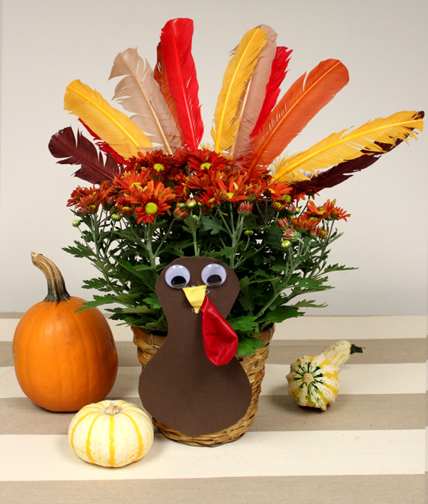 Thanksgiving Potted Plant Turkey Craft for Kids