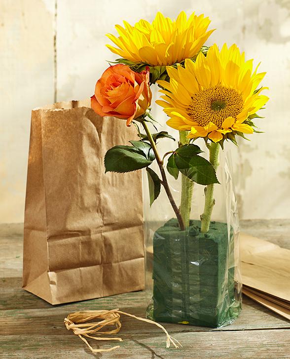 DIY Paper Bag Vase - Flowers in Floral Foam and Cellophane