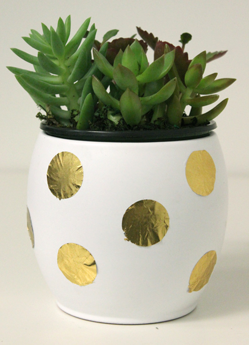 diy-planter-gold-foil-decorating-polka-dots