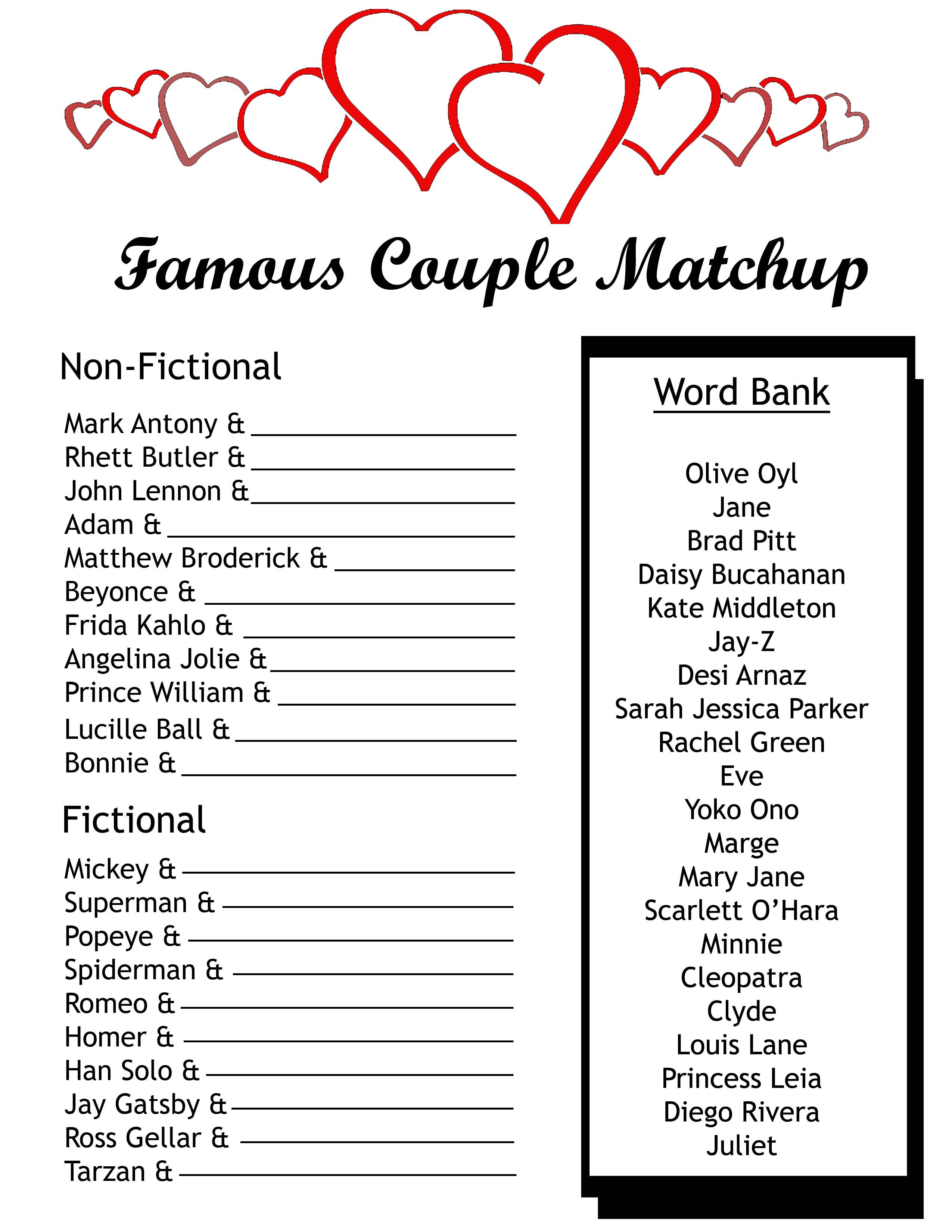 famous couples matching game petal talk