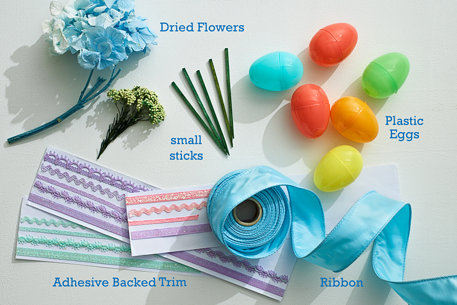 Supplies for Easter Egg Topiary