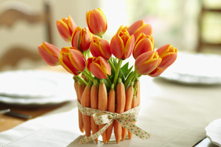 Tulips and Carrots for Easter Decorations