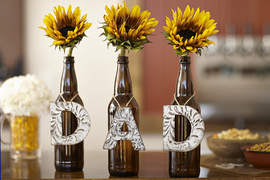 Upcycled Beer Bottle Vases with Sunflowers