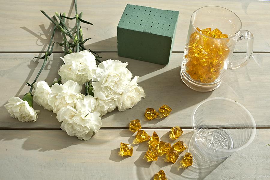Supplies for Beer Mug Flower Arrangement