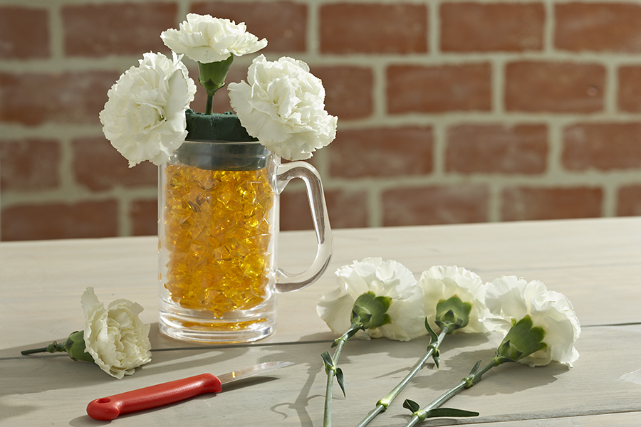 Step 2 Beer Mug Flower Arrangement