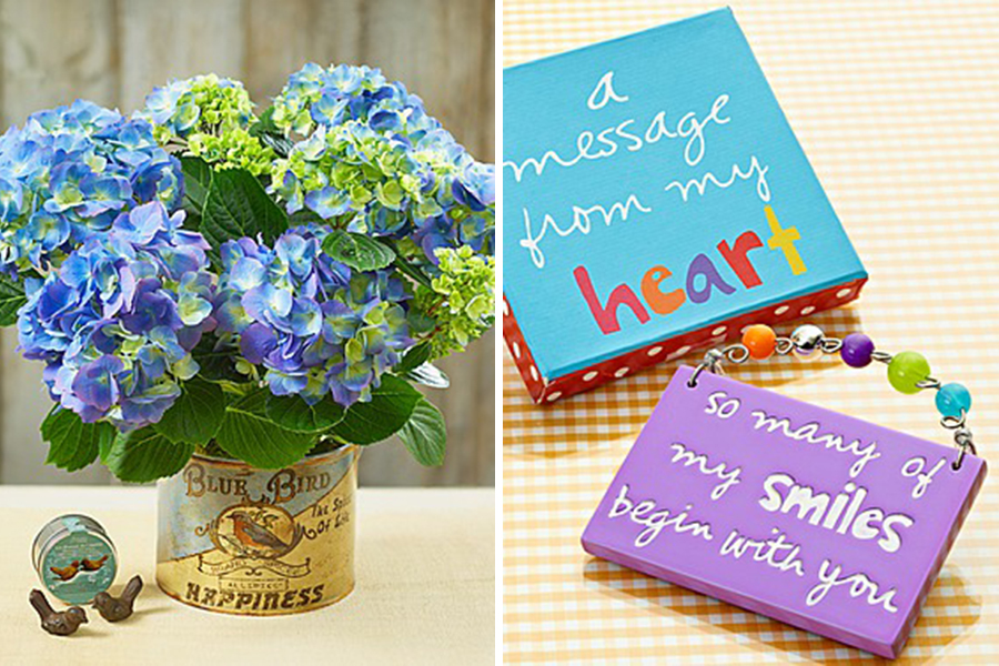 Blue flowers, sandra magsamen quote plaques