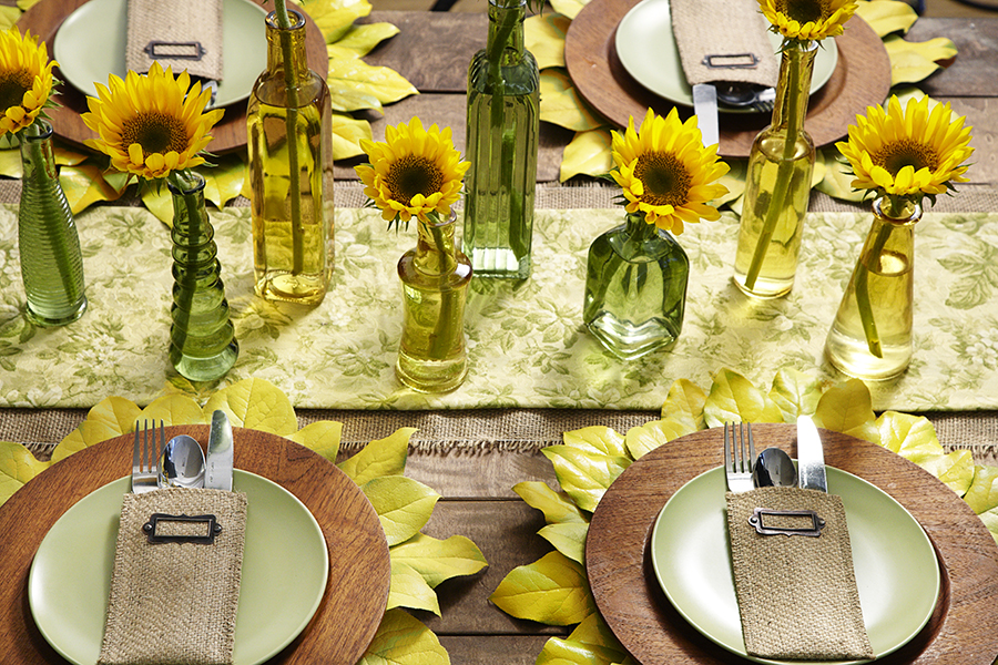 Sunflower Tablescape with DIY Placemats