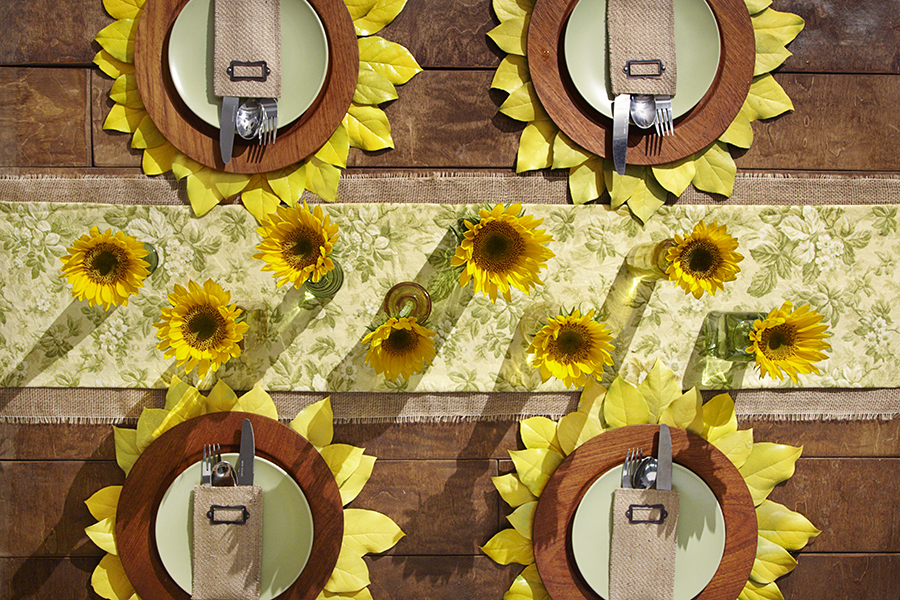 Sunflower Tablescape Top View