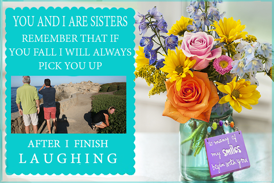 Sisters Day Quote and Flowers