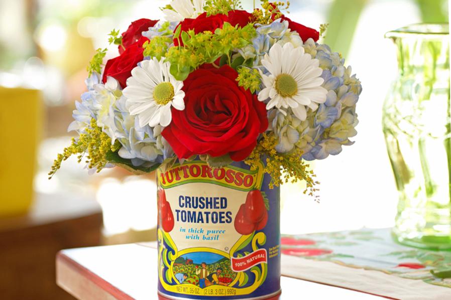 Tomato Can Flower Arrangement