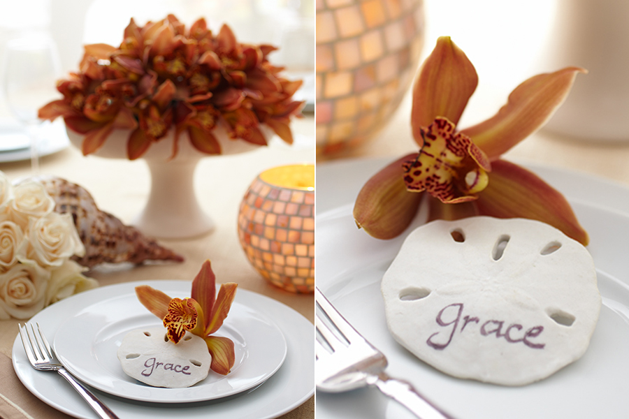 Coastal Orchids and Table Placecards