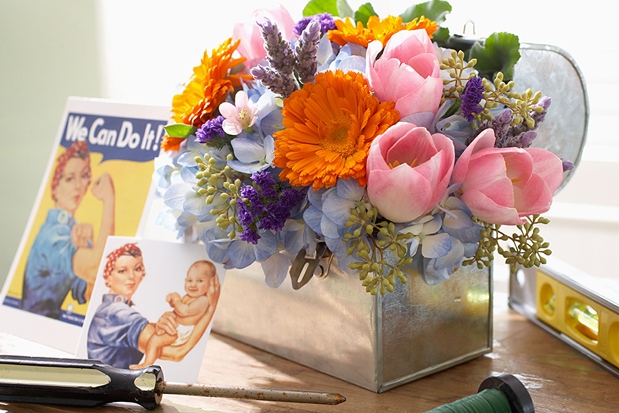 Rosie the Riveter Flower Arrangement