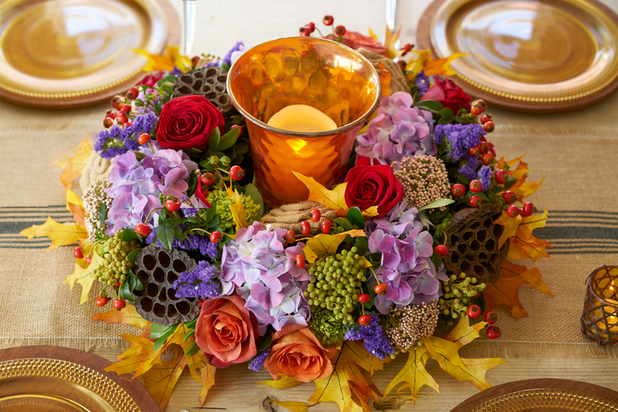 Fall Wreath Centerpiece Top-Down View