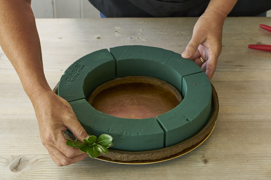 Add Greens to Floral Foam