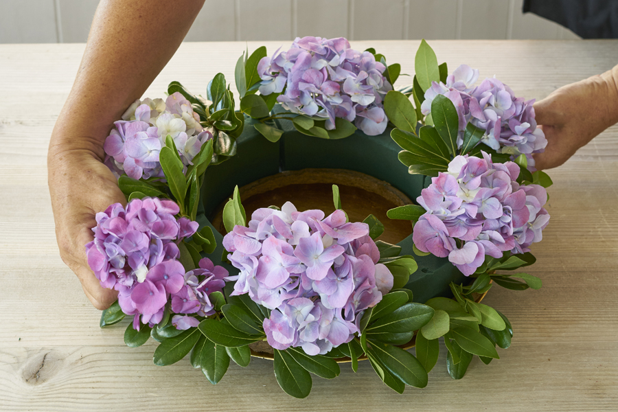 Step 3 Continued- Add large flowers (hydrangeas) all around