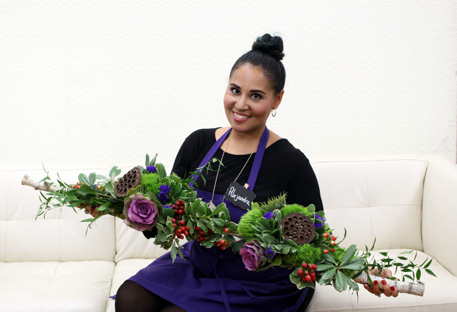 Alejandra with her finished birch branch centerpiece