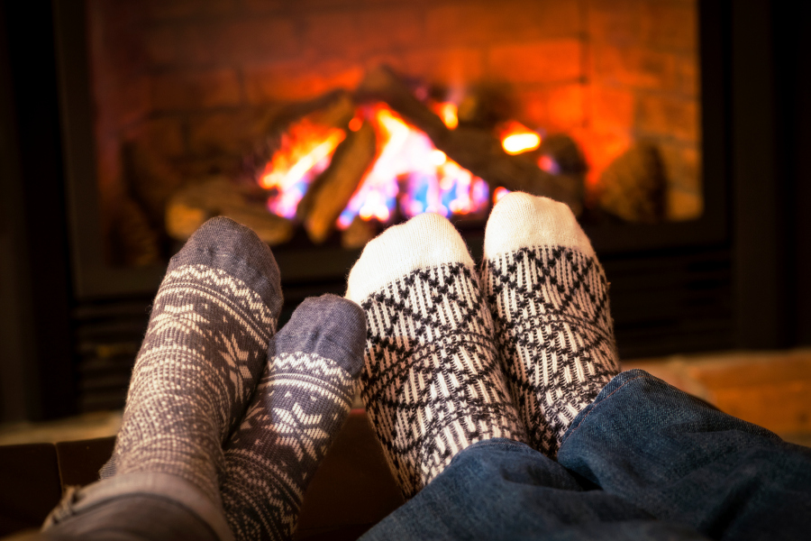 Fuzzy Socks by the Fireplace