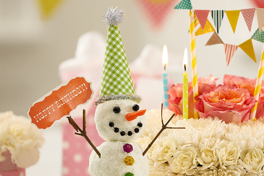 Snowman with Hat and Happy Birthday Sign
