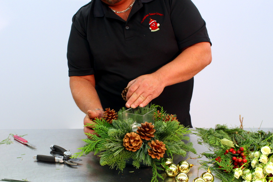 Add pinecones into arrangement in clusters