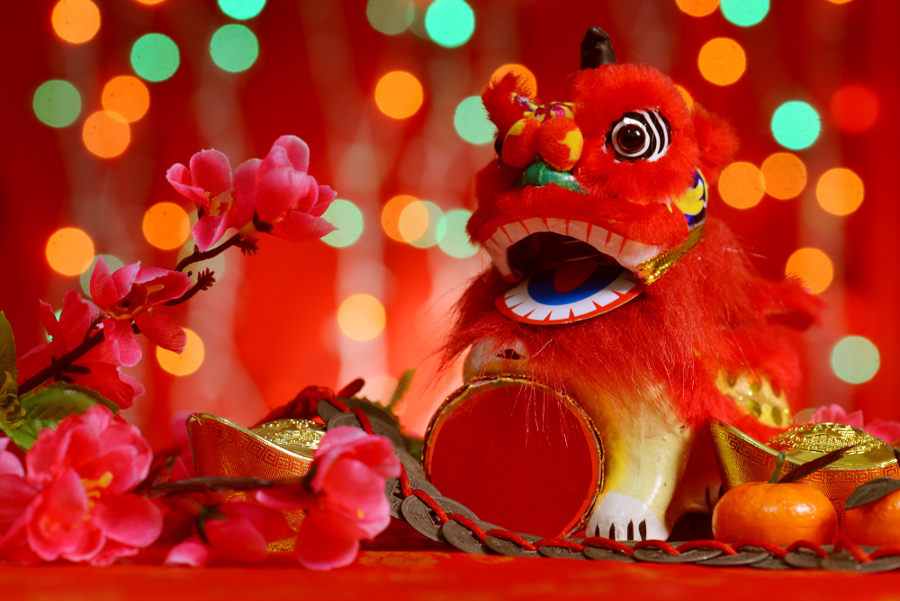 Chinese new year festival decorations, miniature dancing lion and ...