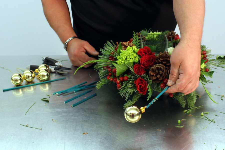 How to make ornament floral picks for centerpiece
