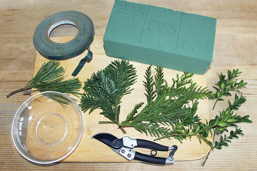 Supplies for DIY Tabletop Christmas Tree