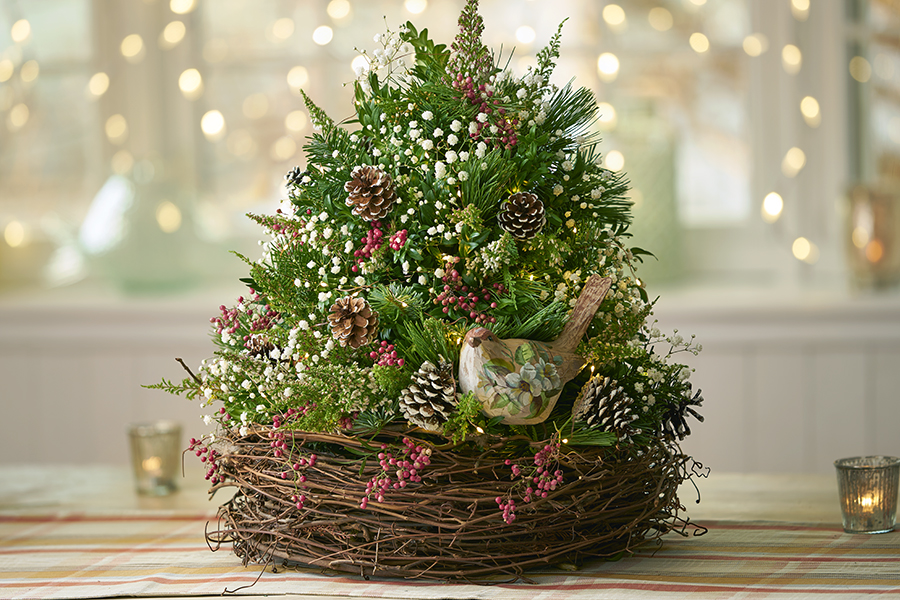 Diy tabletop christmas tree decoration ideas petal talk bird nest christmas tree publicscrutiny Image collections