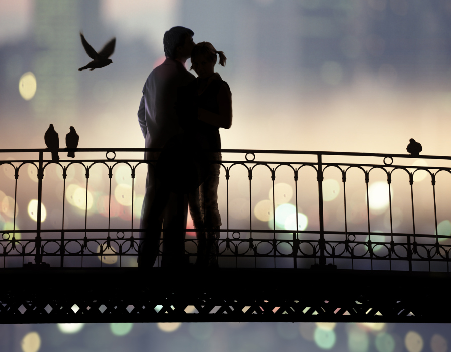 Silhouette of couple kissing on a bridge with birds