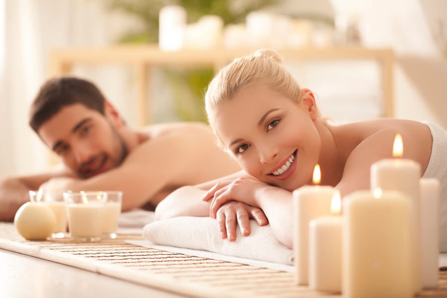 Couples Massage with Candles at Spa