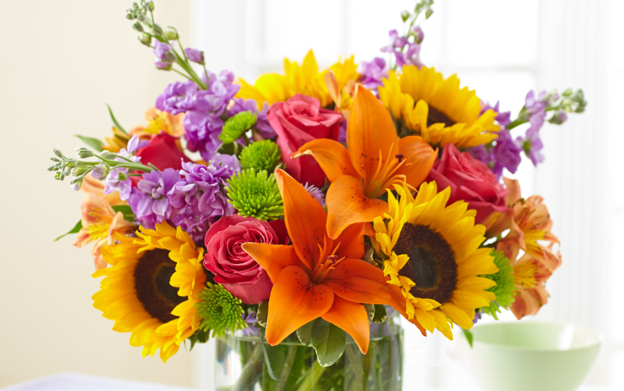 Mixed Colorful Floral Arrangement with Lilies, Sunflowers, Roses & more
