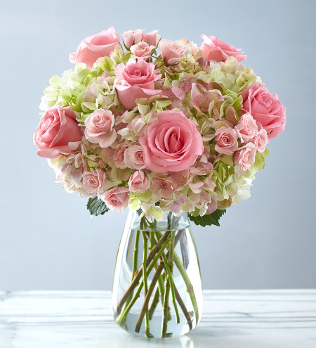 Pink roses and hydrangea in a clear vase